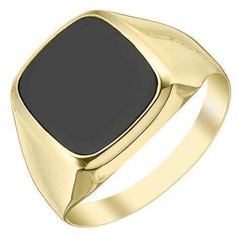 mens 9ct gold 12mm x 10mm onyx cushion signet ring