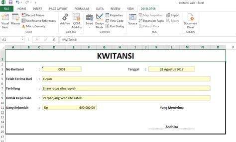 Contoh Kwitansi Pembayaran Excel by Cara Membuat Kwitansi Dengan Menggunakan Microsoft Excel
