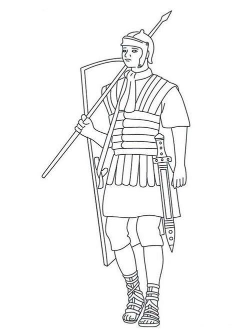 a typical roman soldier coloring page netart