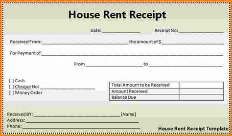 6 Rent Receipt Template Word Expense Report House Rent Receipt Template