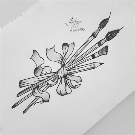 paintbrush tattoo design paint brushes and pencil wrapped in ribbon tattoos