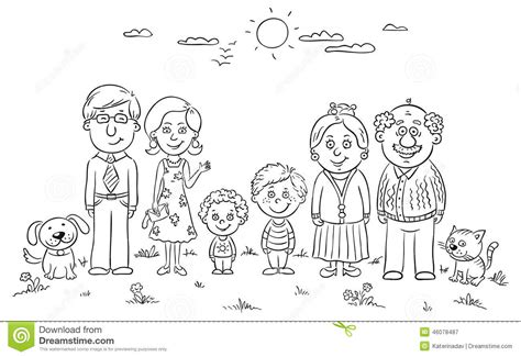 coloring pages of extended family family clipart black and white clipartxtras