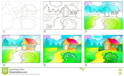 page shows how to learn step by step to paint a landscape stock vector illustration of paint