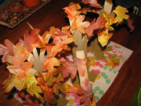 Fall Paper Crafts - paper towel roll fall tree craft preschool education for