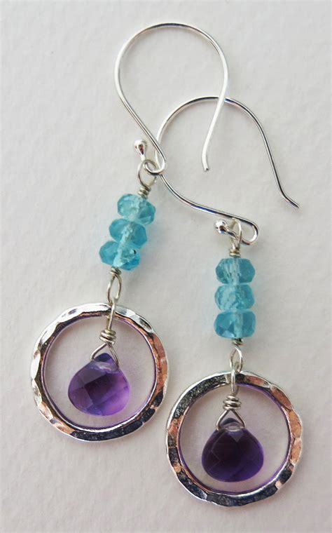 Handmade Amethyst Jewelry - handmade amethyst and apatite zen circle earrings
