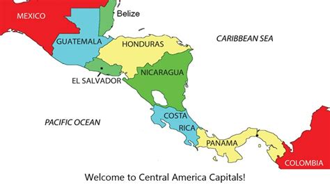 central america map with states and capitals map of mexico and central america with capitals images
