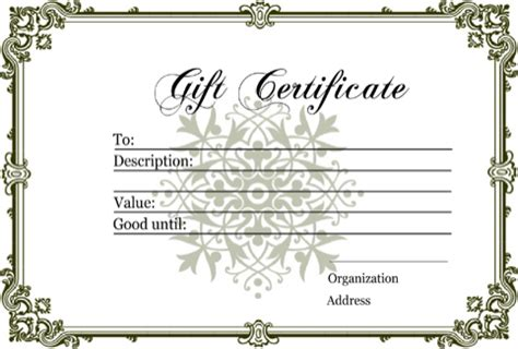 Download Gift Certificate Templates For Free Formtemplate Diy Gift Certificate Template