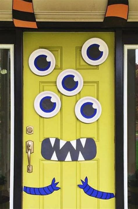 mustache and googly eyes door decor googly eyed monster halloween party ideas monster doors