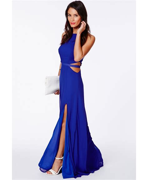 Gorgeous Red Suitcases by Missguided Anthea Cut Out Split Maxi Dress In Cobalt Blue