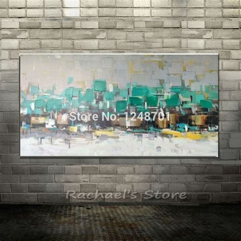 super cheap home decor abstract texture painting turquoise blue green gold leaf