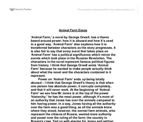 Animal Farm Essay Questions by Animal Farm Homework Help