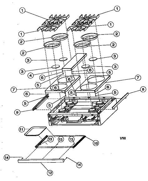 viking range parts diagram burner box exterior assembly diagram parts list for
