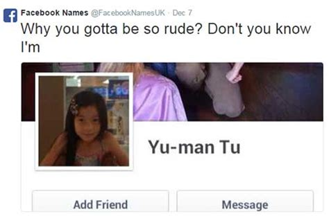 People on twitter are turning facebook names into song lyrics and it