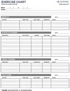 workout chart template free exercise chart or ms excel use this template to