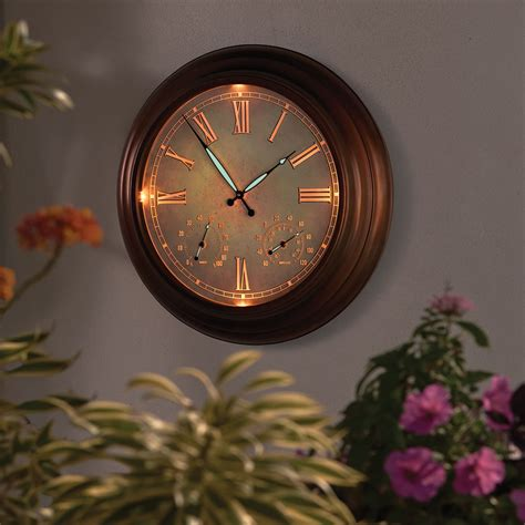 Lighted Outdoor Clock The 24 Quot Outdoor Lighted Atomic Clock Hammacher Schlemmer