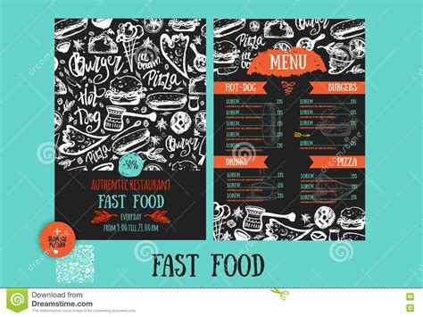 fast food menu design template with hand drawn vector