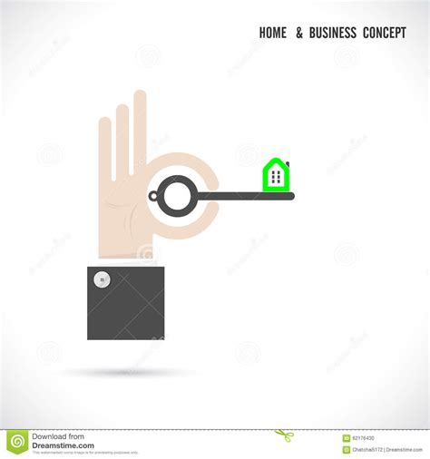 key concepts home design key and house icon abstract logo vector design stock