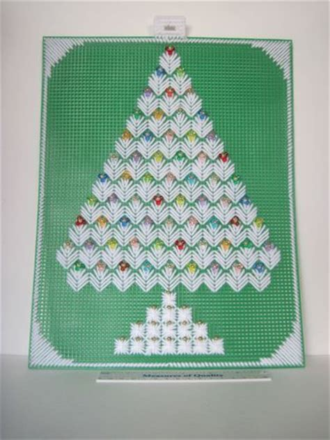christmas tree plastic canvas needlepoint beaded finished
