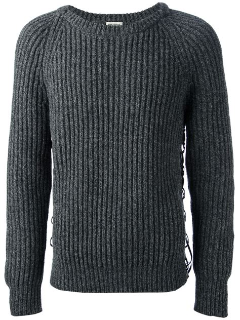 Ribbed Sweater by Lyst Laurent Ribbed Sweater In Gray For