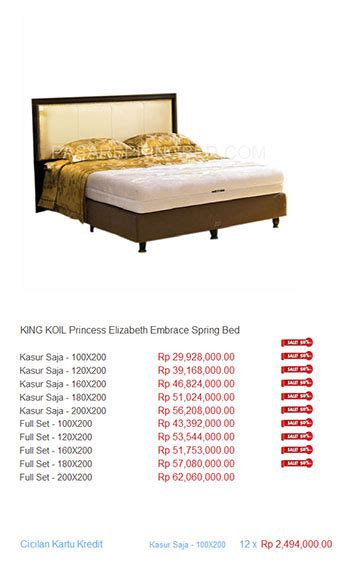 King Koil Single Mattress Harga harga king koil bed harga bed termurah di