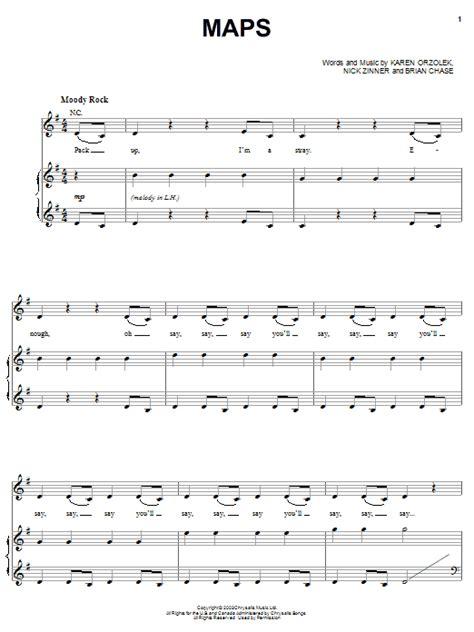 maps lyrics yeah yeah yeahs maps sheet by yeah yeah yeahs piano vocal guitar