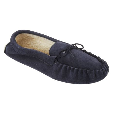 navy moccasin slippers mokkers jake navy suede moccasin indoor slipper
