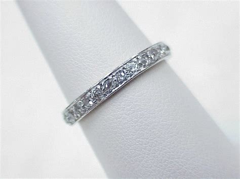 Edwardian Eternity Ring Platinum Rose Cut Diamonds .56 ctw