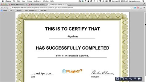 How To Generate A Pdf Certificate Of Completion For Your Course Youtube How To Create Certificate Template