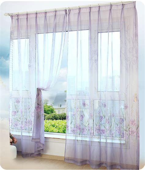 beautiful voile curtains beautiful pastoral floral tulle curtains window decoration