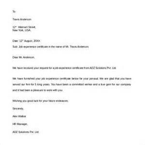 Work Experience Letter Template Sle Experience Letter 9 Documents In Pdf Word
