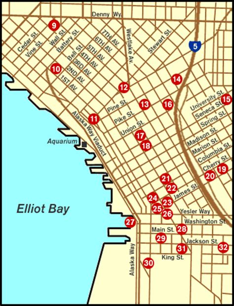 seattle hotels map downtown map of downtown seattle historic places