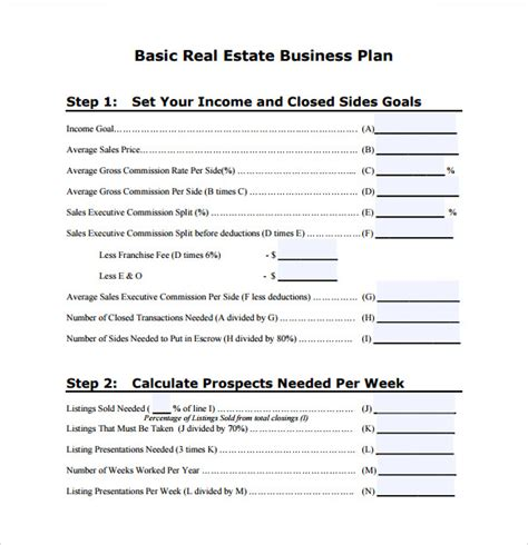 10 Real Estate Business Plan Templates Sle Templates Basic Business Template