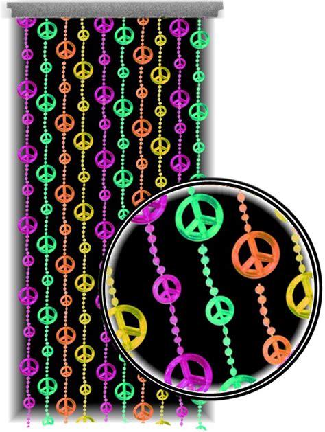 peace sign curtains beaded curtains black light reactive neon peace sign