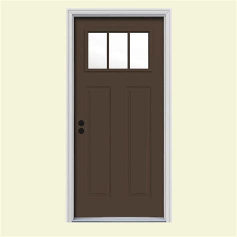 Jeld Wen 36 In X 80 In Cordova 1 2 Lite Dark Chocolate Front Steel Doors