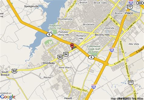 waco texas on the map map of 8 waco mall area woodway
