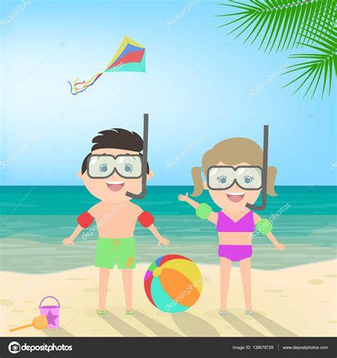 imagenes animadas vacaciones playa vacaciones de verano chico y chica en la m 225 scara de buceo