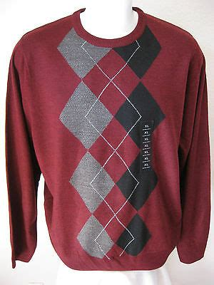 mens red argyle sweater xl geoffrey beene classic
