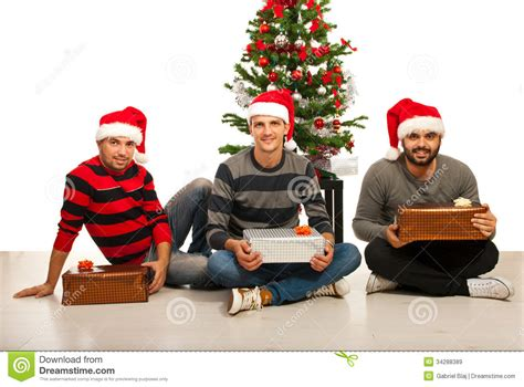 friends men with christmas gifts royalty free stock images image 34288389
