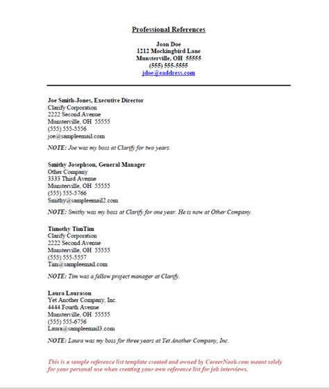 Resume Reference Page Template References Sample How To Create A Reference List Sheet