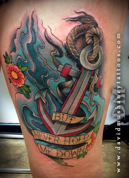 anchor down tattoo 35 anchor tattoos on thigh
