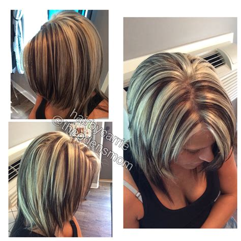 chunking or highlighting short brown hairstyle chunky highlights and lowlights platinum hair dark brown
