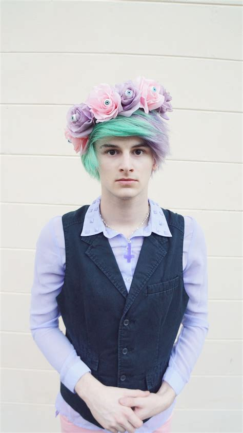boys hair crown pastel goth boy creepy pastel kawaii floral eyeball crown