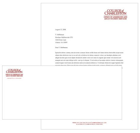 College Of Charleston Letterhead Stationery College Of Charleston