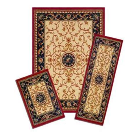Capri Wrought Iron Medallion 3 Piece Set Incl 5 Ft X 7 Area Rug With Matching Runner