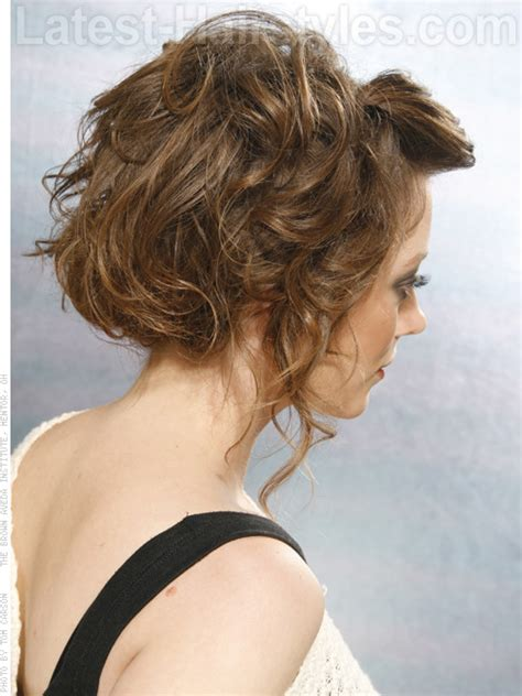 upstyles with shoulder length hair tousled waves view 2