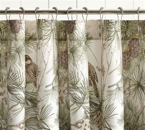 pine cone curtains snow pine bird shower curtain pottery barn