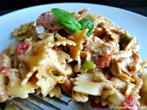 tomato basil sausage pasta sauce recipe with chickapea chicken pasta in a creamy tomato basil sauce