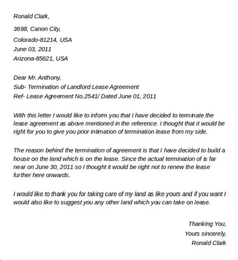 Sle Letter Of Lease Termination From Landlord To Tenant Sle Landlord Lease Termination Letter 4 Documents In Word Pdf