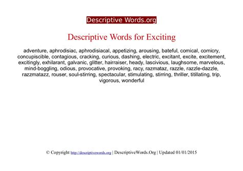 I Would Not Use The Word Exciting To Describe My by Descriptive Words For Exciting Descriptive Words List Of