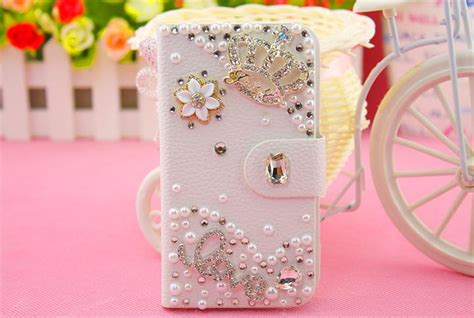 cute themes for moto e luxury cute diamond bling metal flower flip pu leather